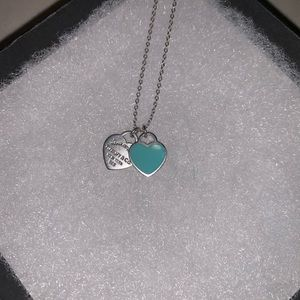 Return To Tiffany Blue Mini Double Heart Necklace
